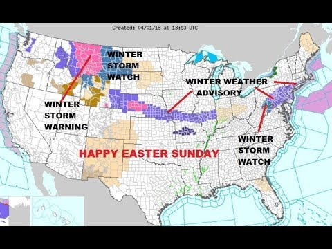 EASTER SUNDAY WINTER WEATHER ADVISORY MID ATLANTIC NORTHEAST,  CENTRAL PLAINS ROCKIES