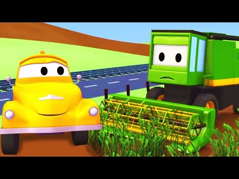 Tom The Tow Truck and the Harvester in Car City   Cars & Trucks construction cartoon (for children)