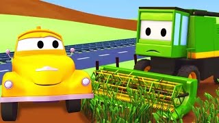 tom the tow truck and the harvester in car city   cars trucks construction cartoon for children