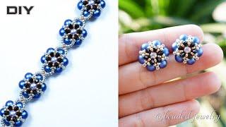 How to make jewelry set. Elegant pearl beaded stud earrings and bracelet