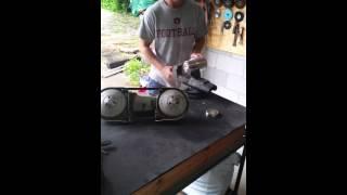 Cutting a yeti cup in half