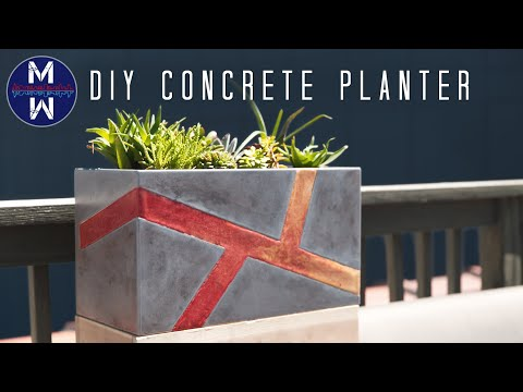 DIY Modern Concrete Planter Box || How to Make with Limited Tools