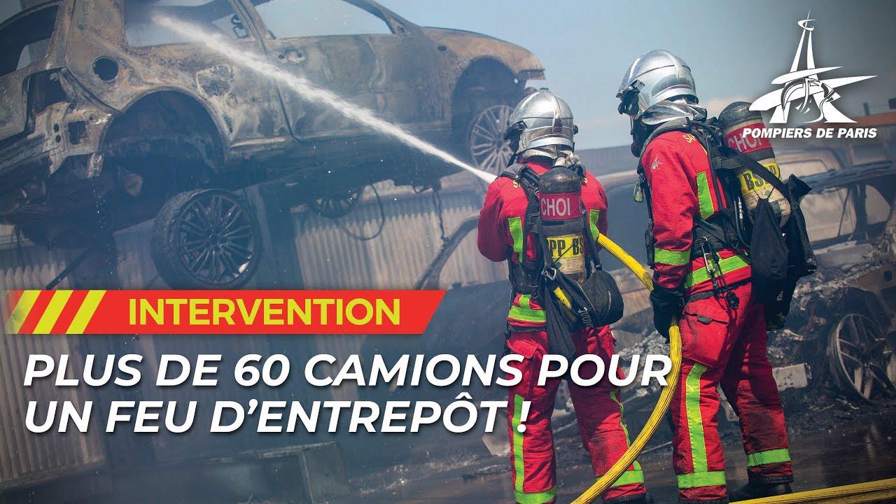 PLUS DE 60 ENGINS POUR UN FEU D'ENTREPÔT À VALENTON (94)