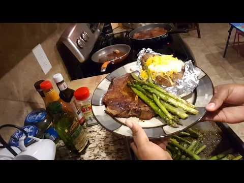 T-bone steak,  baked potato and baked asparagus season.. part 2