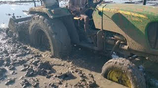 John Deere tractor stuck in mud and My Swaraj 744 tractor pulling out - come to village