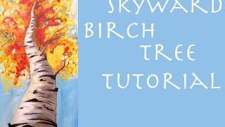 Fall birch tree beginner acrylic painting tutorial #thankful4art
