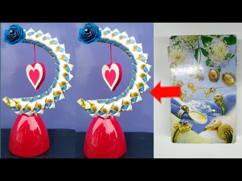 DIY paper heart showpiece   gift ideas   how to make paper heart   playing card craft