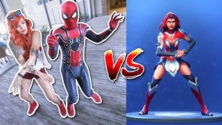 Spider-Man VS DRAGONCON 2018 FORTNITE DANCE CHALLENGE (In Real Life - Super Hero) Ft. Mary Jane