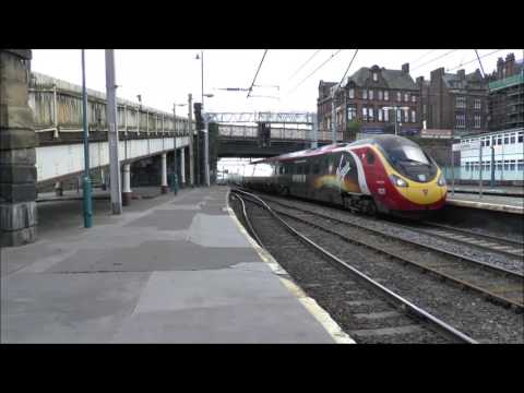 Carlisle Station including Hunterston Nuclear Flask and Royal Mail Train, 26 Aug 2016