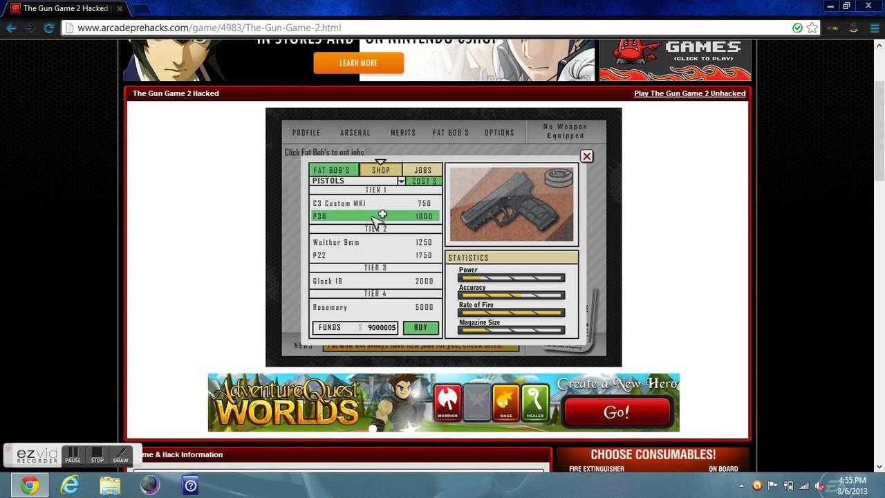 playing arcade pre hacks:The gun Game