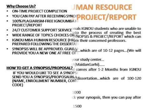 Ignou Mba Human Resource Hr Synopsis  ProjectReport  Youtube