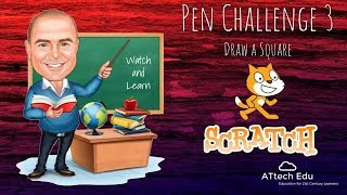 Pen Challenge 3 - Scratch Pen Challenges - Coding with Scratch - Draw a square - Angles - Degrees 90