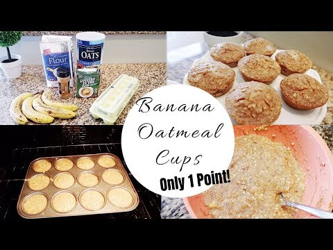 WEIGHT WATCHERS MEAL PREP RECIPE: 1 POINT BANANA OATMEAL MUFFIN CUPS