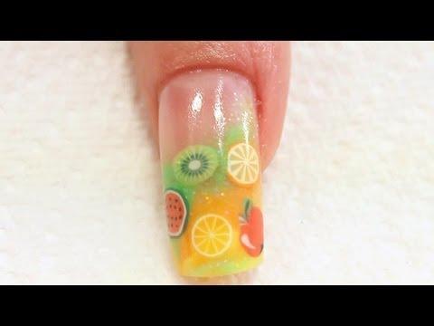 Summer Fruit Acrylic Nail Art Tutorial