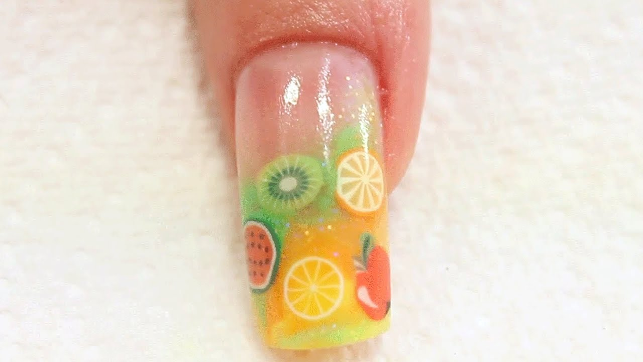Summer Fruit Acrylic Nail Art Tutorial - YouTube