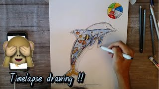 DRAW A SURREAL DOLPHIN 🐬🏐!! | Happy Summer Holidays 🌊🐠 - Timelapse drawing