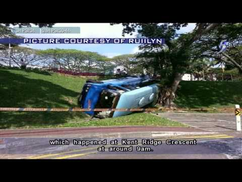 Woman Injured After Bus Overturns At NUS - 25Mar2014