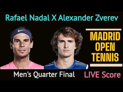 ATP Madrid Open Tennis 2021 Live Score. Rafael Nadal X Alexander Zverev Men's Singles Quarter Final