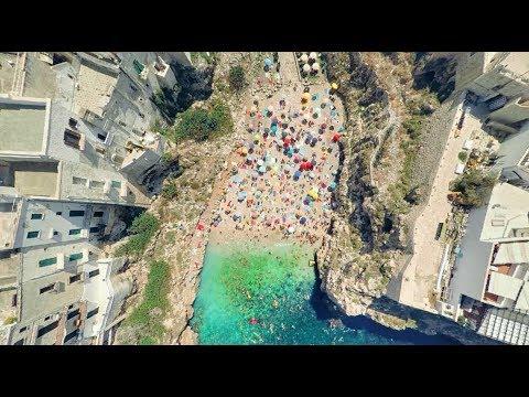South Italy best attractions Positano, Grotta della Poesia, Amalfi, Polignano from above