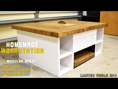Homemade Table Saw, Jigsaw, Router Workstation  Modular | DIY