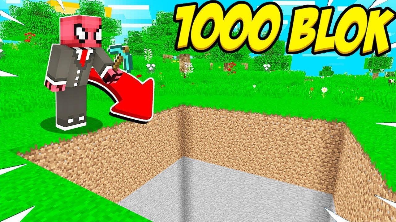 DÜNYANIN EN GÜÇLÜ KAZMASI! ⛏️ (1000 BLOK) - Minecraft