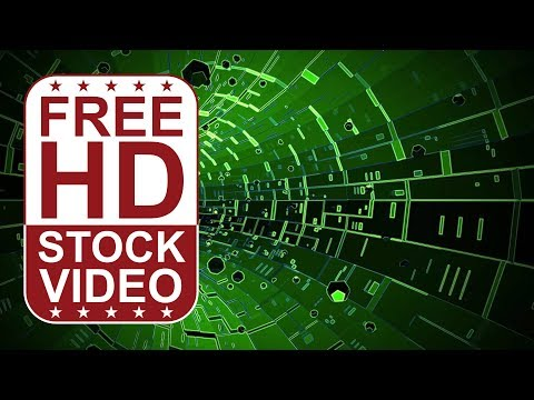 FREE HD video backgrounds - abstract green hi tech digital futuristic tunel