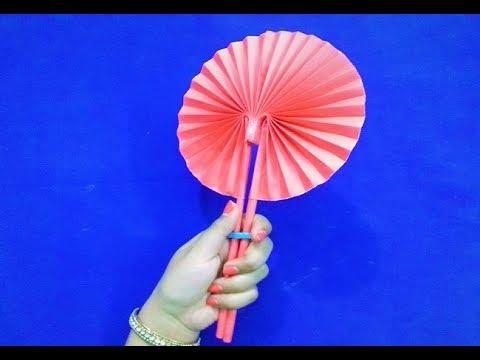 Origami hand fan - Homemade paper Hand Fan - kids craft ideas - DIY