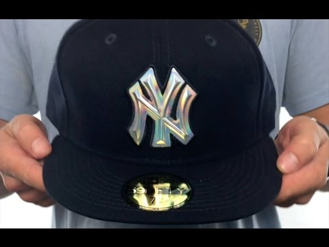 Yankees  IRIDESCENT HOLOGRAM  Navy Fitted Hat by New Era - YouTube d749b9f62330