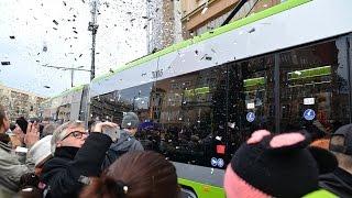 Pierwszy pasażerski kurs olsztyńskiego tramwaju - 19.12.2015 Olsztyn