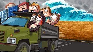 Minecraft | TSUNAMI RESCUE CHALLENGE - Tsunami Destroys City! (Will we Save Them?)