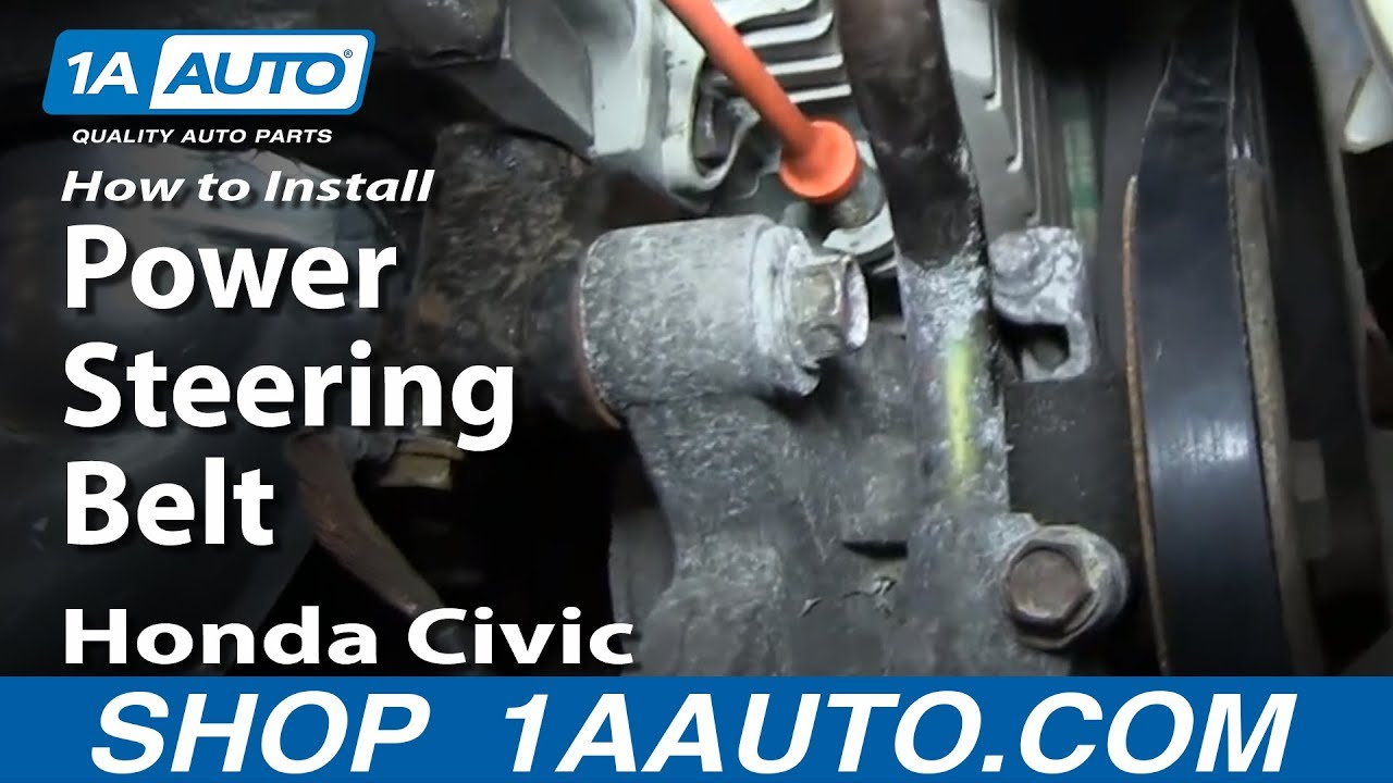 how to install remove change power steering belt 1996 00 1 6l honda civic [ 1280 x 720 Pixel ]