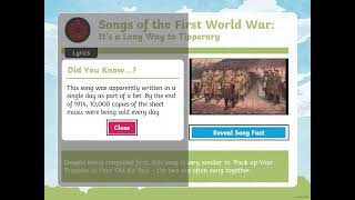 Year 6 Structure and Songs of the First World War