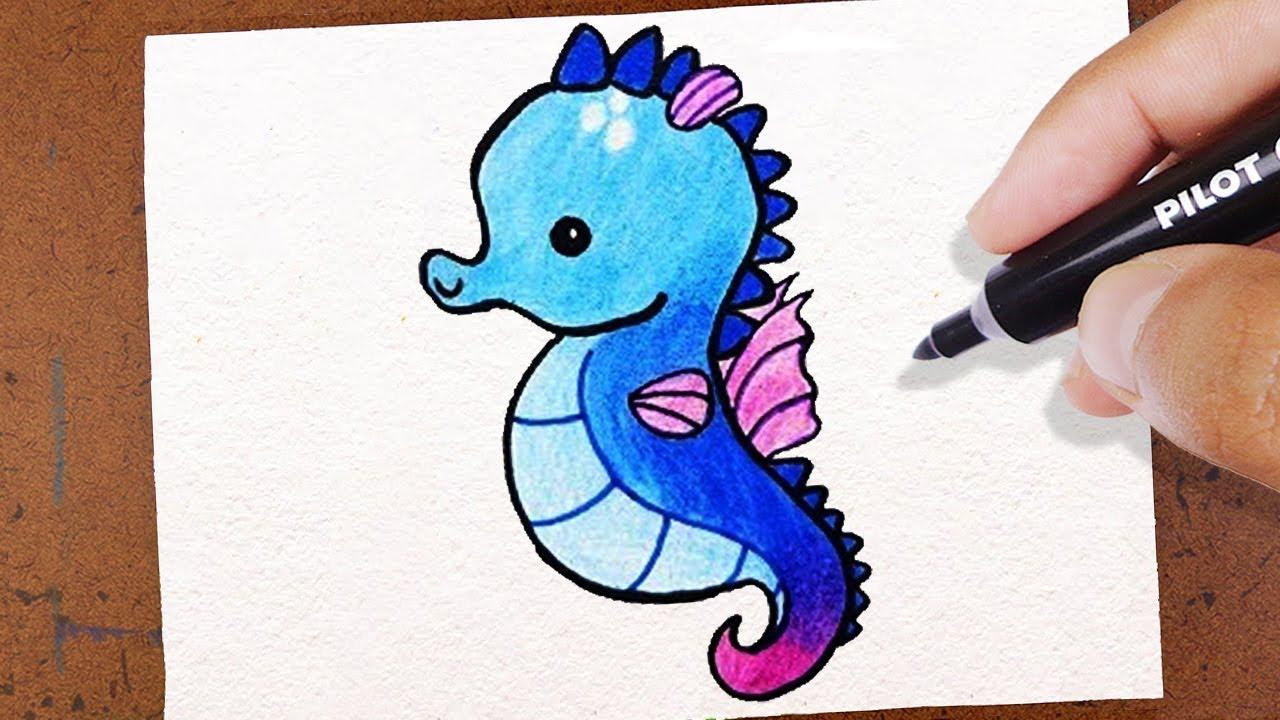 Como Desenhar Um Cavalo Marinho Kawaii How To Draw Desenho Lindo