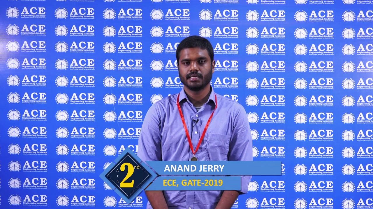 Anand Jerry, All India 2nd Rank in GATE 2019 Electronics and Communication Engineering
