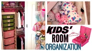 7 YEAR OLD'S SMALL BEDROOM ORGANIZATION & STORAGE | FLOCKED HANGERS, STUFFED ANIMAL STORAGE & MORE!