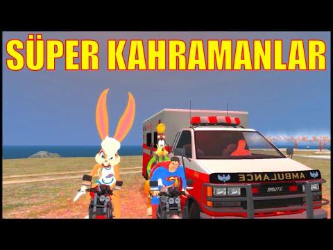 Süper Kahramanlar! Örümcek Adam Ambulans Şöförü | Süpermen ve Goofy Motor Sürüyor | Çocuklar İçin
