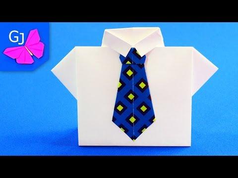 Оригами из бумаги КОНВЕРТ РУБАШКА С ГАЛСТУКОМ