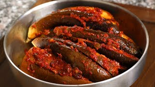 North Korean style spicy stuffed steamed eggplant (Gochujang gaji-jjim: 고추장 가지찜)