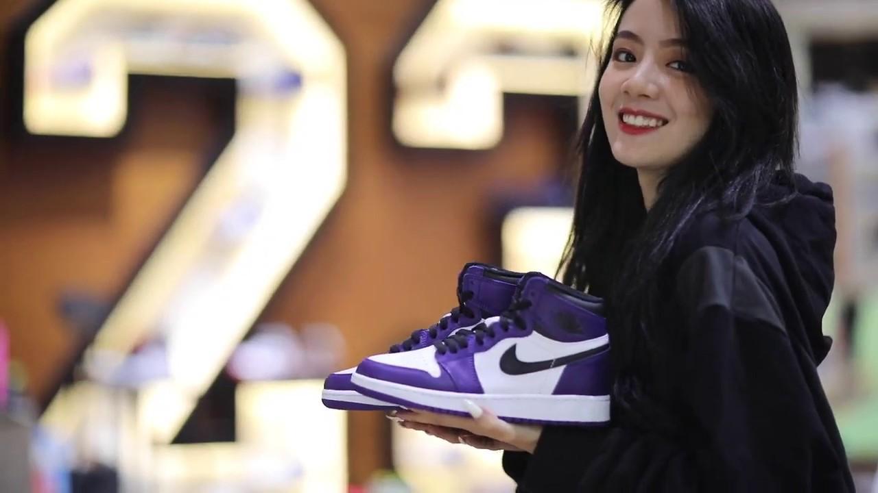 Varios orar ácido  XH55 Girl Air Jordan 1 High OG White Court Purple - YouTube