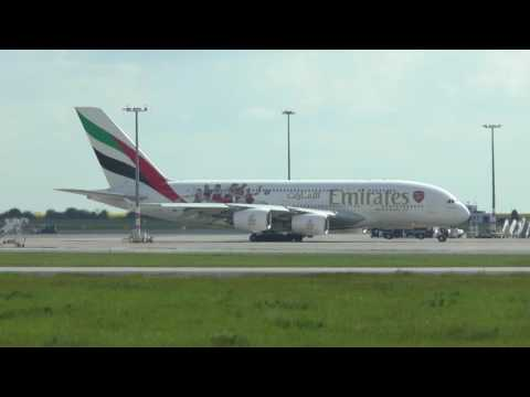 Airbus A380 Emirates takeoff from Prague with ATC audio