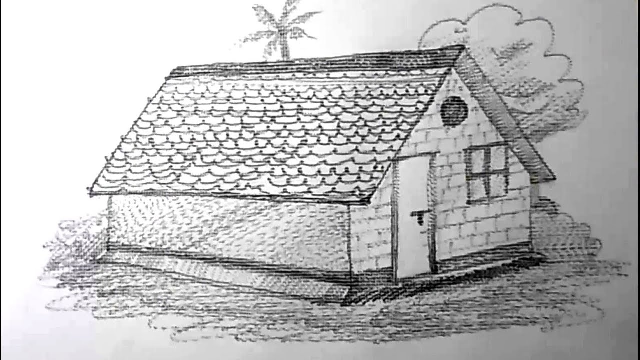 How to draw a house for kids pencil drawing yzarts