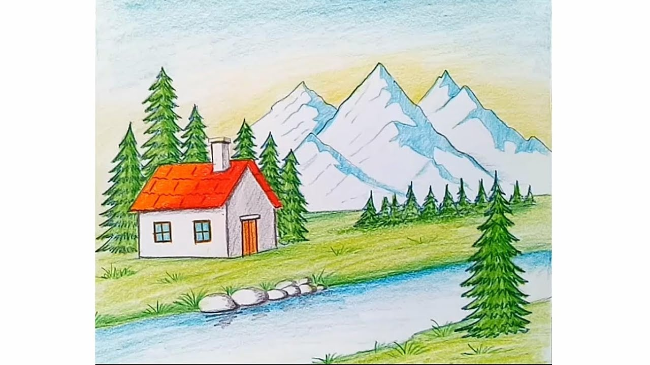 How To Draw Hillside Landscape For Beginners Youtube