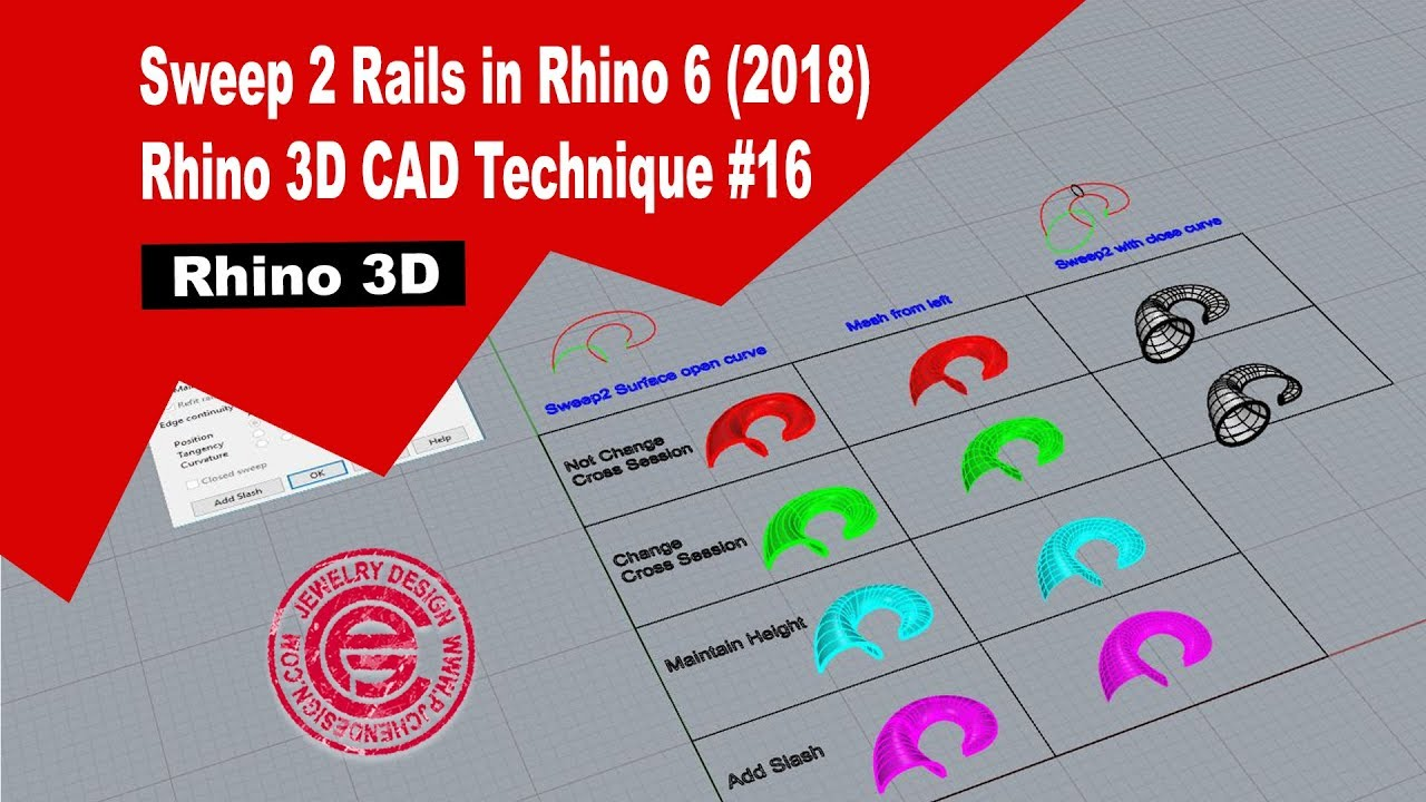 Rhino 3D CAD Technique #16: Sweep 2 Rails in Rhino 6 (2018)