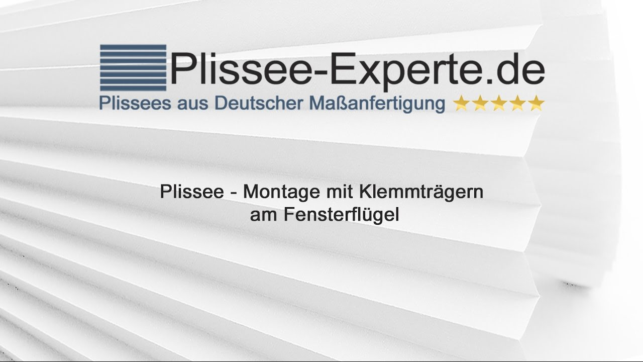 plissee montage mit klemmtr ger f r freih ngende plissees youtube. Black Bedroom Furniture Sets. Home Design Ideas
