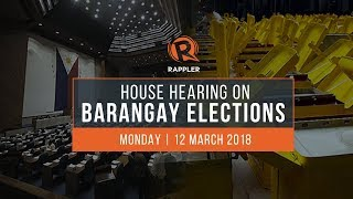 LIVE: House hearing on postponement of barangay elections