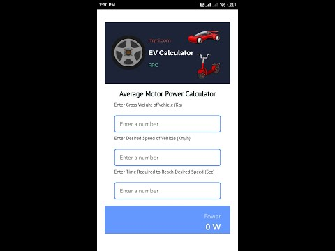 Calculate the most important parameter of electric vehicle project with this App
