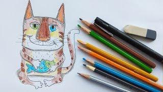 Как нарисовать кота кошку карандашом  поэтапно - Видео для детей