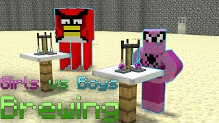 Monster School: Girls vs Boys Brewing Challenge - Minecraft Animation | Angry Birds