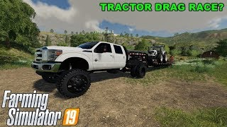 FS19 - MOWING GRASS AND DRAG RACING TRACTORS WITH JOE!