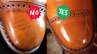 FIXING SCRATCHES IN LEATHER-Shoe Restoration Tutorial on Allen Edmonds Fifth Avenues